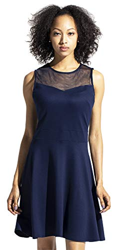 Sylvestidoso Women's A-Line Sleeveless Pleated Little Dark Navy Blue Cocktail Party Dress (S, Navy)