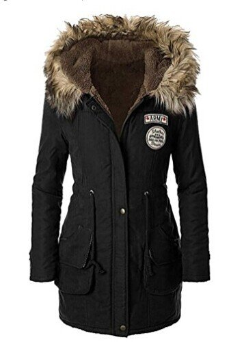 Meloo Mantel Damen mit Pelz kapuze Lady fit Wintermantel Parka Jacke warm