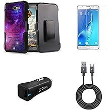 Samsung Galaxy J7 (J7 V, Perx, J7 Prime, Sky Pro, Halo) - Bundle: Dual Layer Shockproof Kickstand Belt Holster Case - (Nebula), Screen Protector, 18W QC 3.0 Car Charger, USB Cable, Atom Cloth