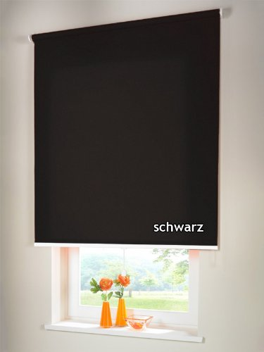 Sichtschutzrollo Mittelzugrollo Springrollo Rollo Verdunkelung 125 x 160 cm / 125x160 cm schwarz