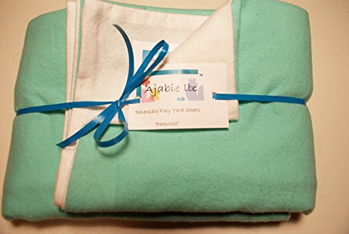 Pocket-2in1-Sheet Light Teal with White Flannel 2 in 1 Patented No Slip Reversible Pack n Play Play Yard Fitted Sheet Cover or Day Care Mini Crib Mattress Sheet