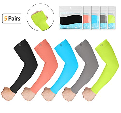 (SHINYMOD UV Protection Cooling or Warmer Arm Sleeves for Men Women Kids Sunblock Protective Gloves Running Golf Cycling Driving Long Tattoo Cover Arm Warmer-5 Pair)