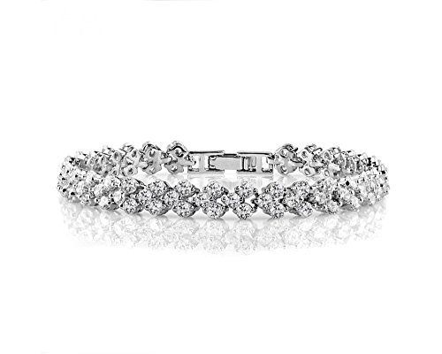Best Tennis Bracelet 7.5 Inch in Existence. White Cubic Zirconia CZ Lightweight Silver Bracelet for Women. Bridal/Wedding Jewelry. Guaranteed! - Elegance Tennis Bracelets