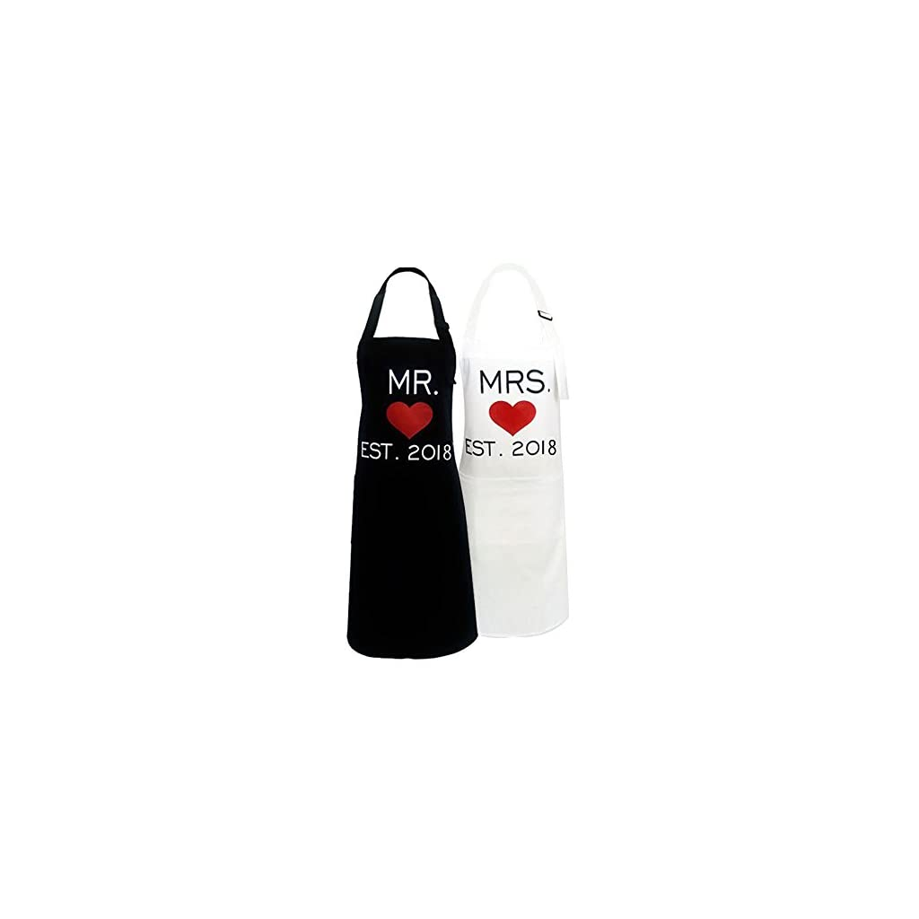 KMCH Mr. and Mrs.2019 Couples Kitchen Aprons Funny Cooking Bibs Gifts for Wedding Newlyweds His and Hers Sets (2 Pieces a Set) …
