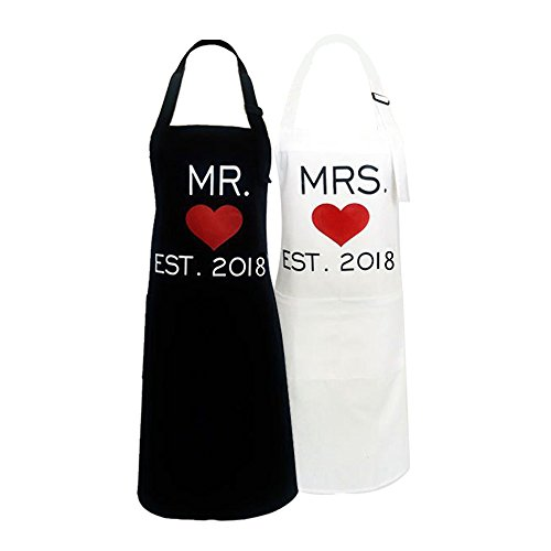 Wedding Apron - KMCH Mr. and Mrs.2018 Couples Kitchen Aprons Funny Cooking Bibs Gifts For Wedding Newlyweds His and Hers Sets (2 Pieces a Set)