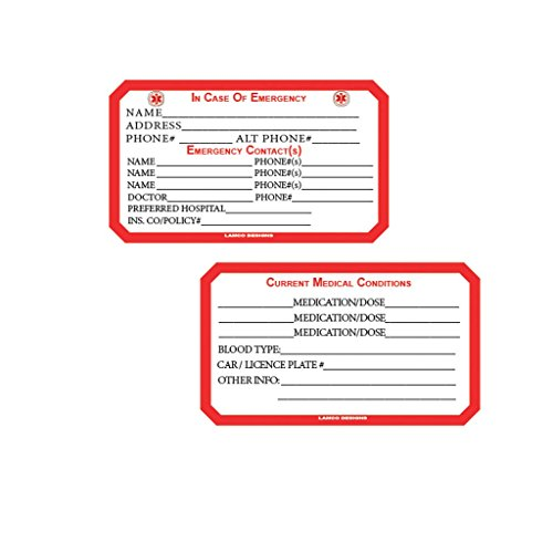 Emergency Medical and Personal Information Wallet Size Card with Instant Laminating Cover - 2 Cards and 2 Laminating Covers - Medical Information Cards