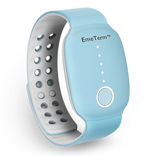 EmeTerm Antiemetic Electrode Stimulator Morning Sickness Motion Travel Sickness Nausea Vomit Relief Rechargeable Drug Free Blue Wrist Bands Parents and Friends Gift No Side Effects