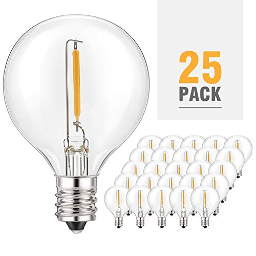 (Kohree G40 Led Replacement Bulbs Dimmable Globe Light Bulbs, 1w 2200K Outdoor for Patio G40 Edison Globe String Lights, E12 Base for Party Decor,25Pack, Weatherproof)