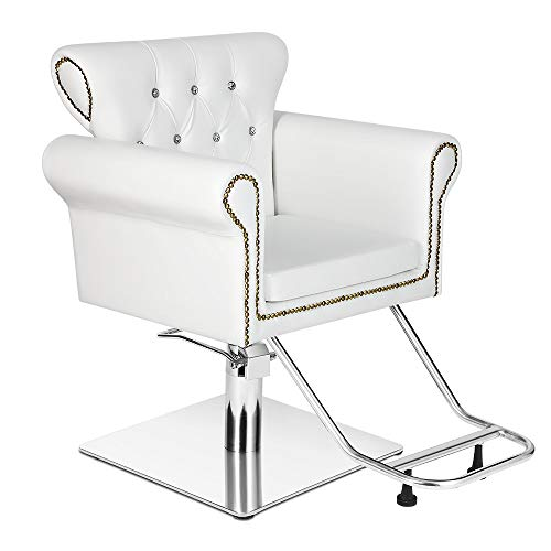 """Vintage Hydraulic Styling Barber Chair Salon Spa Beauty Chairs Equipment (20"""", White)"""