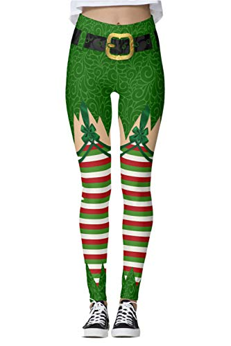 ALBIZIA Women's Sexy Funny Elf Elves Christmas Xmas Leggings Funny Tights US -
