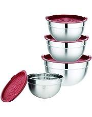 XSQUO Gourmet Tools stålskål med lufttätt lock av silikon, metall, röd, 13,40 x 23,40 x 22, 80
