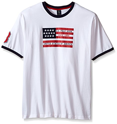 U.S. Polo Assn... Men's Big-Tall Flag Graphic Crew Neck T-Shirt, White, X-Large/Tall (Mens Graphic Applique Polos)