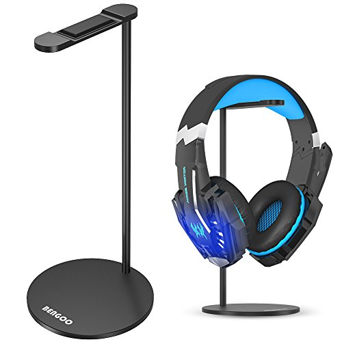 BENGOO Gaming Headset Headphone Stand for PC PS4 Xbox One Headset, Aluminum Headset Holder Headphones Display Stand Mount for Desk - Black (Headset Not Included)