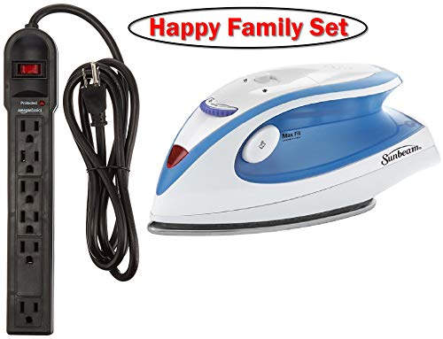 Happy Family Set ❤ Compact Non-Stick Soleplate Travel Iron and 6-Outlet Surge Protector Power Strip, 790 Joule - Black by Happy Family Set ❤