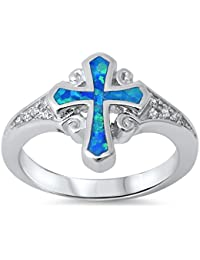 Lab created Blue Opal Cross & Cz .925 Sterling Silver Ring sizes 4-12