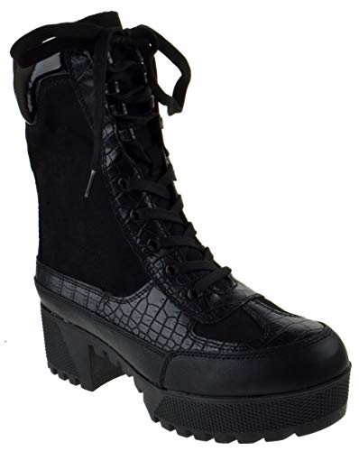 Bambo Powerful 06S Womens Chunky Heel Platform Lug Sole Military Combat Boots Black Crocodile 9