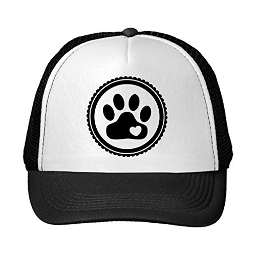 Trucker Hat Paw, Cat, Dog, Pet Polyester Baseball Mesh Cap Snaps Black/Black One Size