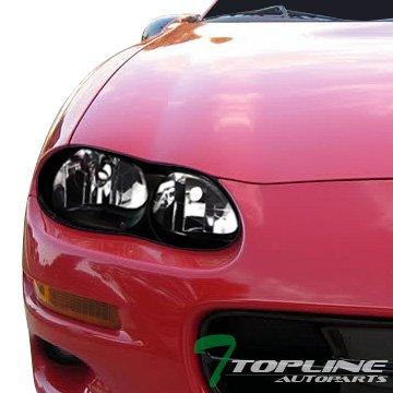 Topline Autopart Black Clear Housing Headlights NB For 98-02 Chevy Camaro -