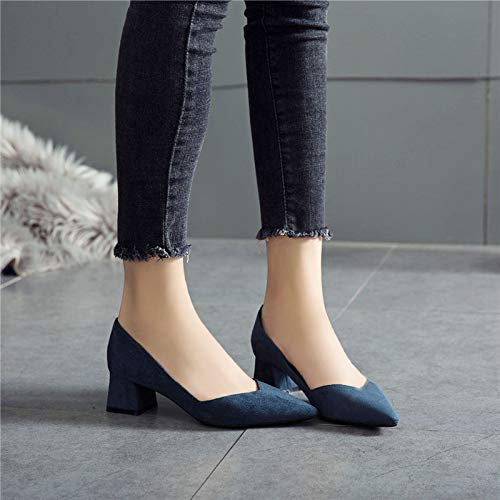 With Girl Autumn Shoes Thick With Gentle High Shoes Heels High Yukun Female heels Wind Single Female Pointed Navy Wild gwCTP