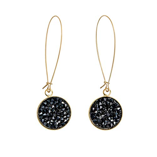 Niv Jewelry Monaco Earrings, Swarovski Drop Earrings, Black Crystal and 24-Karat Gold Piercings