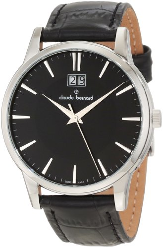 Claude Bernard Men's 63003 3 NIN Classic Gents Black Dial Leather Date Watch