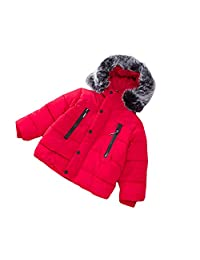 MIOIM Toddler Boys Girls Winter Warm Imitation Fur Down Outwear Hoodie Coat Jacket