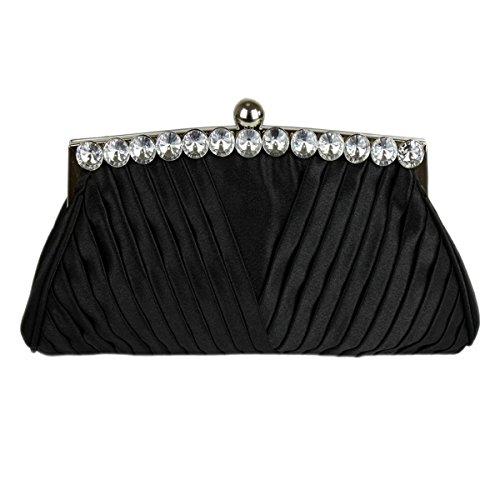 Prom Crystal A Evening Clutch Handbag Ruched With Long And Black Bridal Decoration Bag Wedding Party Chain Satin Top Xga4xXpq0n