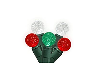 "Set of 50 Red, Pure White & Green LED G12 Berry Christmas Lights 4"" Spacing - Green Wire"