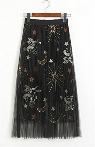 (Women Embroidered A Line Floral Printed Pleated Tulle Skirt Knee Length Tutu Waistband Summer Evening Party (Moon))