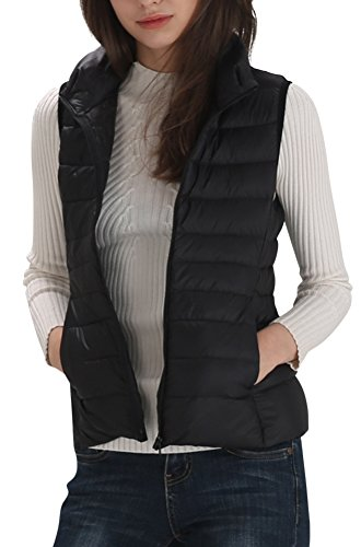 Oyanus Women's Outwear Ultra Lightweight Packable Puffer Down Vest Coat Black XL