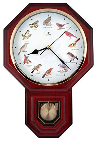 Unique 12 North America Bird's Song Schoolhouse Pendulum Wall Clock with Chimes Every Hour Melody Made in Taiwan, 4AA Batteries Included (TCBD-PP0258-R Red Mahogany)