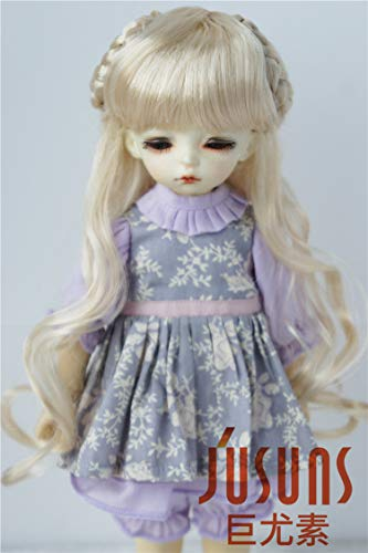 JD125 Celine Long Synthetic Mohair Doll Wigs 1/6 1/4 1/3 YOSD SD MSD BJD Accessories (Blond, 6-7inch) ()