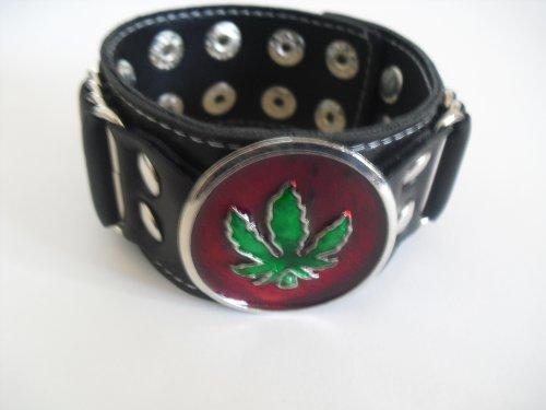 MARIJUANA LEAF POT GANJA REGGAE RASTA METAL BIKER ROCKER PUNK VINYL BRACELET WRISTBAND GOTHIC - Marijuana Wristbands