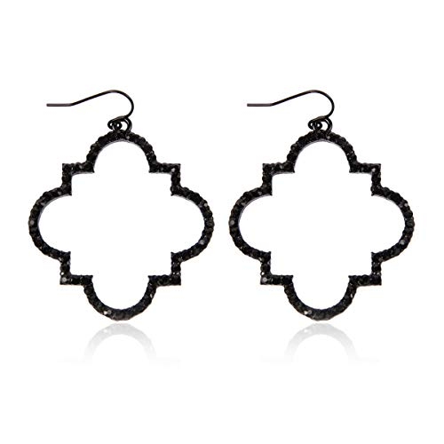 - MYS Collection Rhinestone Moroccan Floral Lightweight Open Hoop Dangles - Sparkly Geometric Cut-Out Drop Earrings Scalloped, Moroccan, Quatrefoil Clover (Quatrefoil Clover - Black)