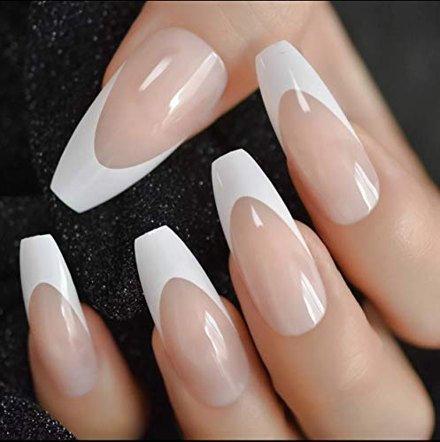 EDA LUXURY BEAUTY NATURAL NUDE PINK WHITE FRENCH GLAMOROUS Full Cover Press On Gel Glitter Artificial Tips Shiny Acrylic Extreme False Nails Extra Long Ballerina Coffin Square Super Fashion Fake Nails