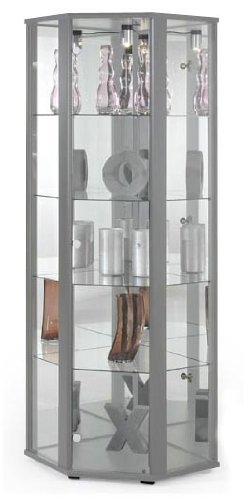 lockable silver corner glass display cabinet with mirror back 4 rh amazon co uk silver glass display cabinet argos