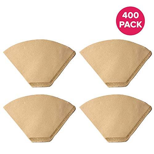 Think Crucial Replacement #2 Coffee Filters for Unbleached Natural Brown Paper, Disposable Cone Filters, Fits All Coffee Makers With #4 Filters including Melitta, Bulk (400 Pack)