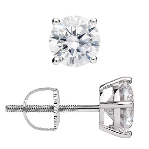 (14K Solid White Gold Stud Earrings | Round Cut Cubic Zirconia | Screw Back Posts | 1.5 CTW | With Gift Box)