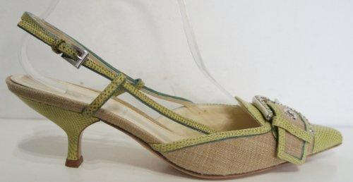 PRADA & Cuir-Textile-Vert-talons asine-Taille 5 (1/0,5) 38