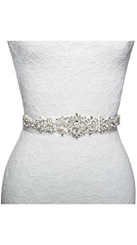 Vintage Designer Wedding Dress Appliqué Sash Belt Rhinestone Crystal Bridesmaid