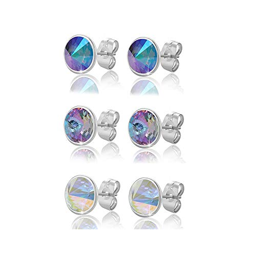 Xuping Halloween Charm Round 2 Pairs\ 3 Pairs Stud Earrings Crystals from Swarovski Fashion Jewelry Black Friday Gift (Crystal Vitrail Light + Crystal Paradise Shine+Crystal Aurore Boreale) ()