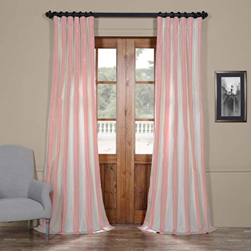 (DH 1 Piece Girls Light Pink Cream Rugby Stripes Faux Silk Taffeta Window Curtain 84 Inches Single Panel, Fuchsia Off White Window Treatment Striped Vertical Lines Gorgeous Pole Pocket, Silk Polyester)