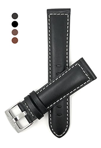 m Wide, Black Genuine Leather Watch Band Strap, Mat Finish, White Stitching, Also Comes in Brown, Tan and Light Brown ()