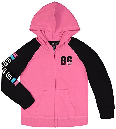 B.U.M Equipment Girls Fleece Zip-up Active Hoodie Sweatshirt W/Kangaroo ()