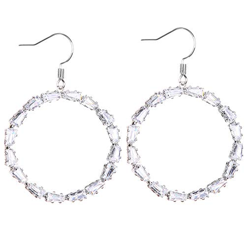FASHION Sparkly Dangle Earring Simple Lightweight Hook Drop Earrings - Cut-Out Dangles Hoop/Heart Cubic Zirconia -