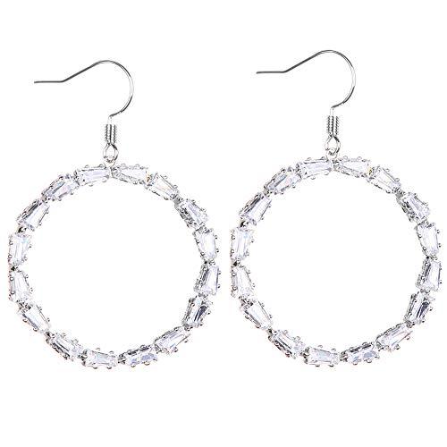 - FASHION Sparkly Dangle Earring Simple Lightweight Hook Drop Earrings - Cut-Out Dangles Hoop/Heart Cubic Zirconia Rhinestone