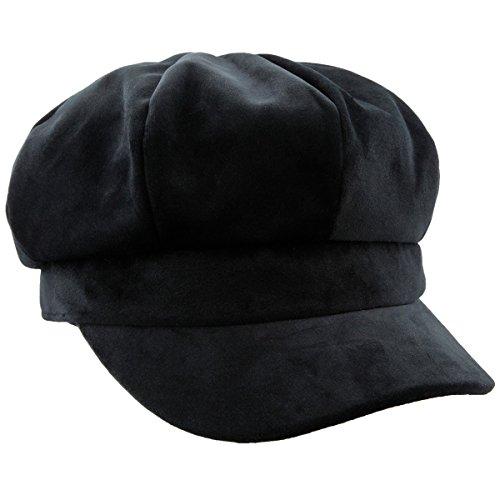 moonsix Newsboy Hat,Plain Cabbie Visor Beret Gatsby Ivy Caps for Women,Black(Velvet) -