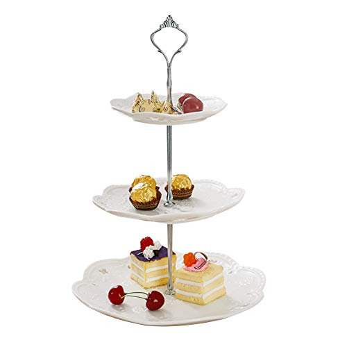 3-Tier Ceramics Cupcake Stand for Cakes Desserts Candy Buffet Table decoration for Wedding Home Birthday Party Baby Shower Party -