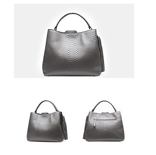Mujer Otoño Invierno Moda Nuevo PU gran Capacidad Solo Bolso De Hombro Bolso Bolso De Hombro Inclinado Grey