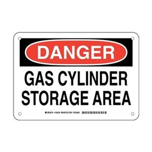 LegendGas Cylinder Storage Area 10 Width Brady 126229 Chemical and Hazard Sign Black and Red on White LegendGas Cylinder Storage Area 7 Height 10 Width 7 Height